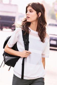 White Sheer Metallic Sweater