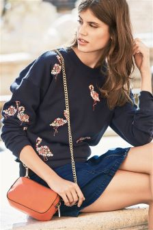 Navy Flamingo Embroidered Sweat Top
