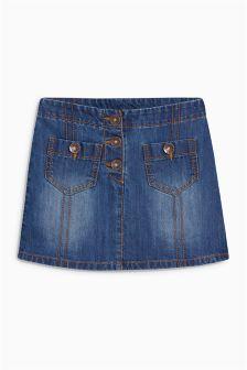 Mid Blue Denim Button Pocket Skirt (3-16yrs)