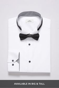 White Wing Collared Shirt and Bow Tie Set