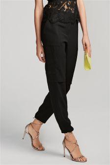 Black Cargo Pocket Trousers