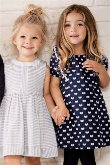 Navy/White Cat Print Dress (3mths-6yrs)