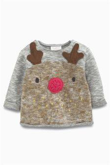 Navy Reindeer Sweater (0mths-2yrs)