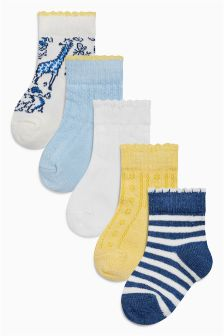 Blue/Yellow/Ecru Socks Five Pack (Younger Girls)