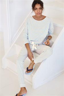 Blue Stripe Jersey Pyjamas