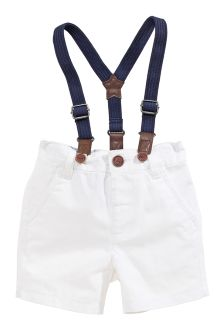 White Braced Chino Shorts (3mths-6yrs)