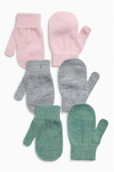 Pink, Grey And Green Mittens Three Pack (Younger Girls)