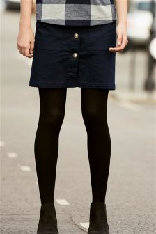 Navy Button Skirt