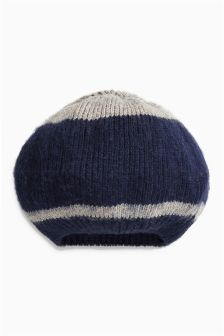Navy Stripe Knitted Beret