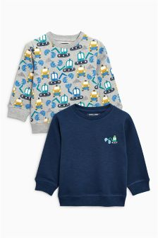 Navy/Grey Digger Print Crew Tops Two Pack (3mths-6yrs)