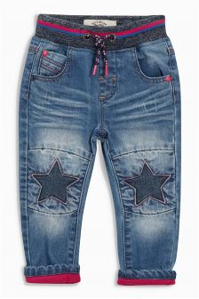 Dark Blue Star Knee Jeans (3mths-6yrs)