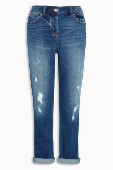 Dark Blue Vintage Wash Cropped Jeans