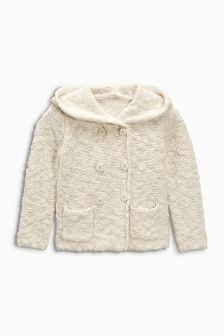 Ecru Hooded Button Through Cardigan (3mths-6yrs)