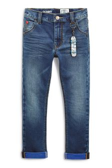 Dark Blue Jersey Look Denim Skinny Jeans With Keyring (3-16yrs)