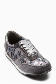 Grey Embellished Trainers (Older Girls)