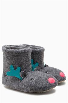 Grey Reindeer Slipper Boots