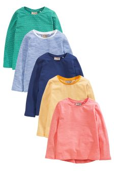 Multi Bright Long Sleeve T-Shirts Five Pack (3mths-6yrs)