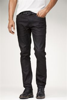 Raw Denim Coated Belted Jeans With Stretch