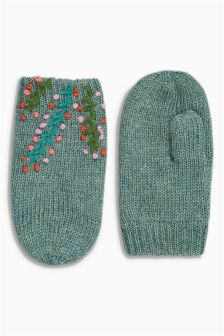 Green Embroidered Mittens (Younger Girls)