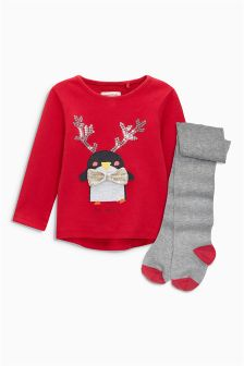 Red Penguin T-Shirt And Tights Set (3mths-6yrs)