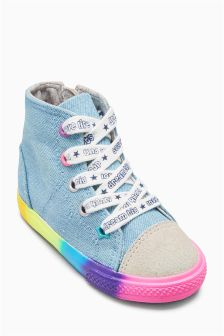 Denim Rainbow High Tops (Younger Girls)