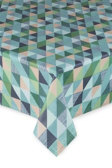 Teal Geo PVC Tablecloth