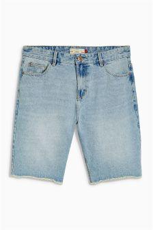 Denim Blue Loose Fit Frayed Shorts