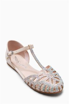 Ivory Embellished T-Bar Shoes (Older Girls)