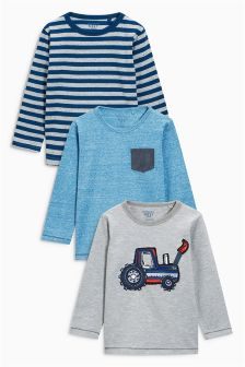 Multi Tractor Tops Three Pack (3mths-6yrs)