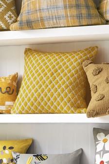 Yellow Woolly Geo Cushion