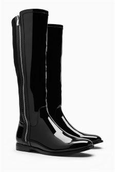 Black Patent Zip Rider Boots