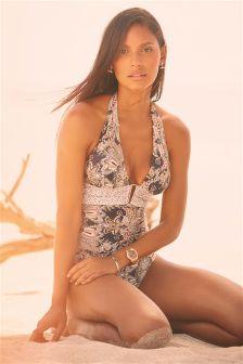 Grey Paisley Shape Enchancing Swimsuit