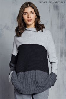 French Connection Grey Patchwork Tonal Knit