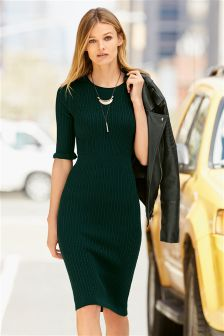 Green Textured Dress