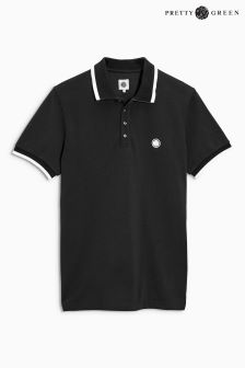 Pretty Green Tipped Black Polo
