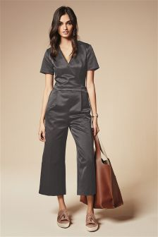 Grey Wrap Cropped Jumpsuit