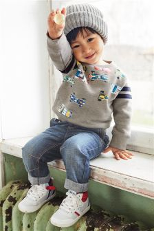 Grey Printed Car Crew Sweatshirt (3mths-6yrs)