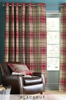 Morcott Woven Check Eyelet Curtains