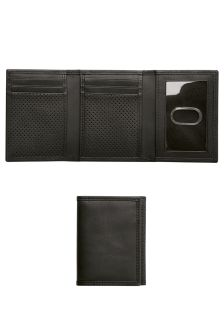 Black Leather Textured Tri Fold Wallet