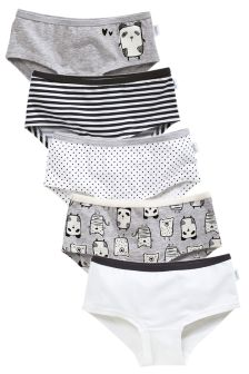 Grey/White Panda Hipsters Five Pack (3-16yrs)