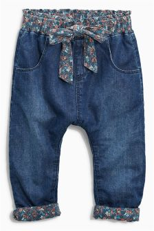 Dark Wash Bow Pull-On Trousers (3mths-6yrs)
