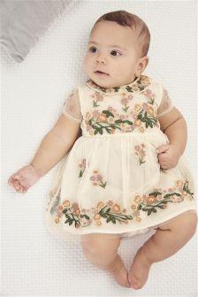 Ecru Floral Embroidered Dress (0mths-2yrs)