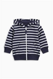 Navy Essential Stripe Zip Through (3mths-6yrs)