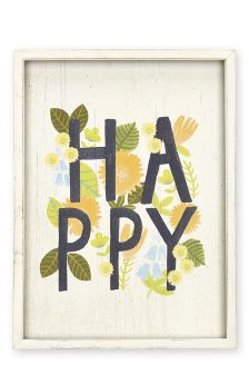 Happy Print On Wood Effect Plaque