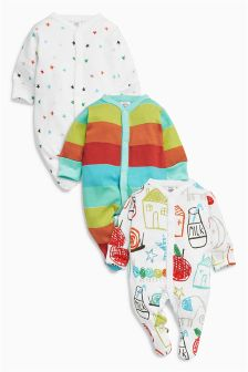 Bright House Sleepsuits Three Pack (0mths-2yrs)