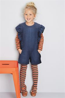 Denim Ruffle Playsuit, Jersey Top And Tights Set (3mths-6yrs)