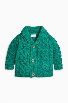 Green Cable Cardigan (0mths-2yrs)