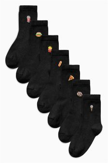 Black Embroidery Socks Seven Pack (Older Boys)
