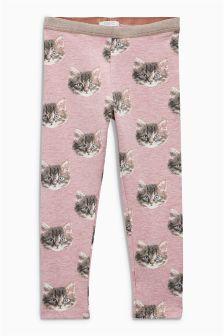 Pink Cat Printed Leggings (3mths-6yrs)