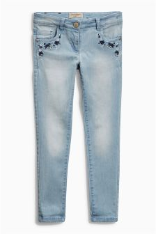 Light Blue Embroidered Skinny Jeans (3-16yrs)